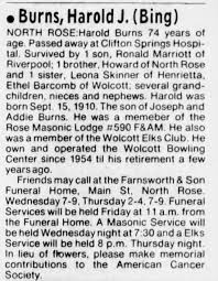 Obituary for Harold J. Burns (Aged 74) - Newspapers.com