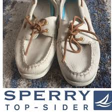 sperry shoes top sider cream leather