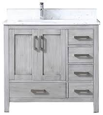 single vanity with white marble top