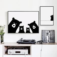 Nordic Style Kids Decoration Nordic Poster Bear Kids Room Animal Wall Retrodora