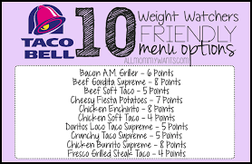 menu options from taco bell