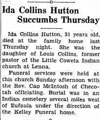 Ida Collins Hutton Death Announcement - Newspapers.com