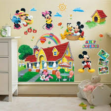 3d Mickey Minnie Mouse Wall Stickers For Kids Bedroom Decor Decal Home Decor