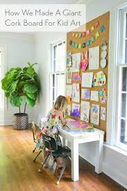 How To Make A Giant Cork Board Wall For Kid Art Young House Love Art Display Kids Cork Board Wall Kids Artwork
