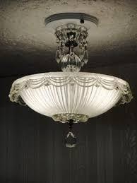 antique art deco semi flush mount glass