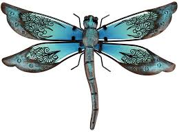 Amazon Com Liffy Metal Dragonfly Garden Wall Decor Outdoor Fence Art Outside Hanging Decorations For Living Room Bedroom Everything Else