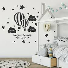 Hot Air Balloons Decal Clouds Stars Wall Decal Sweet Dreams Etsy