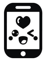 Cute Black And White Smartphone Iphone Emoji 2 Vinyl Decal Sticker Shinobi Stickers