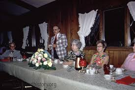 Title:Bank of Brodhead 23 Creator:Truman Olin Description:Fred Hahlen,  Arlene Lorch, Willis Lorch, Avis Olson, and unknown celebrate a Bank of  Brodhead event at the Chalet Restaurant, west of Brodhead, Wisconsin.  Contributor:Frieda Olin Date of Image ...