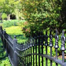 An Ornamental Wrought Iron Fence Can Be Design To Follow The Slope Of Your Yard Backyard Fences Modern Fence Fence Design
