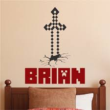 Custom Minecraft Name Room Decal Boys Minecraft Personalized Video Game Bedroom Wall Sticker Diy Minecraft Trendywalldesigns
