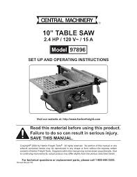 10a Table Saw Harbor Freight Tools