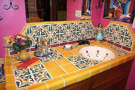 tiled countertop vanity mexican home