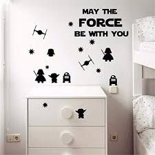 Amazon Com Siehu May The Force Be With You Star Wars Wall Stickers Death Star Darth Vader Robot Yoda Mural Decal For Nursery Kids Room Decor Home Kitchen