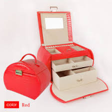 china red pu beautiful case cosmetic