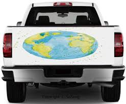 Amazon Com Earth Vinyl Wall Stickers Hand Drawn Watercolor Style Earth Kids Art With Color Stains Cars Trucks Decorative Decal Sticker 60x20 Inches Light Blue Yellow Pistachio Green Home Kitchen