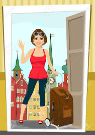 Positive Woman Comes Back Home From Vacation Standing Royalty Free ...