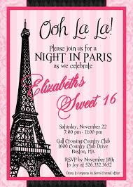 Paris Sweet Sixteen Effiel Tower Birthday Invitation Custom