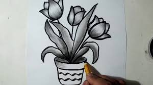 how to draw a flower pot charcoal