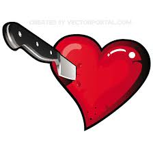 Heart stabbed with a knife vector - Free vector image in AI and EPS format.