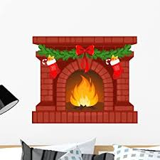 Amazon Com Wallmonkeys Christmas Fireplace Wall Decal Peel And Stick Graphic Wm146350 24 In W X 20 In H Home Kitchen