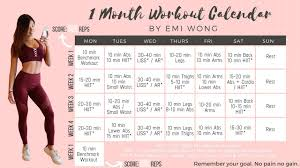 1 month workout calendar to lose weight