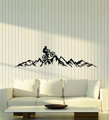 Amazon Com Vinyl Wall Decal Bicycle Bike Extreme Sport Mountain Hill Stickers Mural Large Decor G1735 Black Home Kitchen