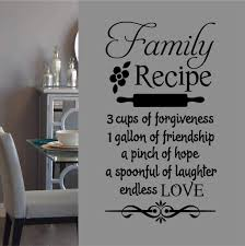 Kitchen Wall Decal Family Recipe Whimsical Vinyl Lettering
