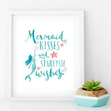 2020 Mermaid Kisses And Starfish Wishes Poster Prints Mermaid Quotes Canvas Painting Nautical Wall Picture Girls Room Wall Art Decor From Zhu793737893 6 69 Dhgate Com