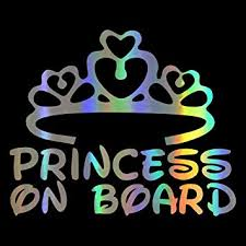 Amazon Com Hungmieh Princess On Board Car Stickers Decals Kids Baby On Board Stickers For Baby Safety Sign Laser Material Car Styling Bumper Stickers Vinyl 5 7 X7 Automotive