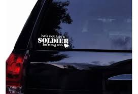 He S Not Just A Soldier He S My Son Military Decal Navy Army Marines Airforce Mom Vinyl Car Decal Laptop Decal Car Window Wall Sticker 15x6 Cm White Wish