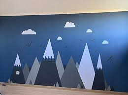 Amazon Com Gray Cream Mountains Wall Sticker Home Decor For Kids Room Nursery Eagles Pine Trees Clouds Beautiful Art Murals Decal Jw373 Color 1 Grey Baby