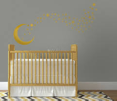 Gold Moon And Little Stars Wall Decal Sticker Wall Decals Wallmur