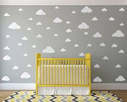 Amazon Com White Clouds Sky Wall Decals Easy Peel Stick 50 Clouds Pack Kids Playroom Nursery Sky For Baby Boy Or Girl Vinyl Sticker Art Large Decoration Graphic Decor