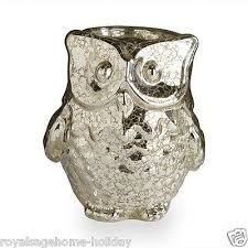 40678a mercury glass owl candle holder