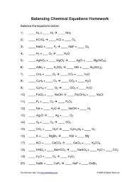 worksheet for balancing chemical