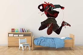 Amazon Com Spider Man Spider Verse Miles Morales Wall Hole 3d Decal Vinyl Sticker Decor Room Smashed Kids Games Art Mural 45 W X 40 H Arts Crafts Sewing