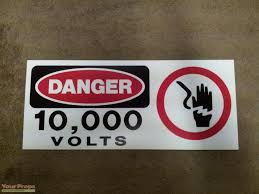 Jurassic Park Danger 10 000 Volts Fence Sign Replica Replica Movie Prop