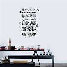 Amazon Com Vinyl Wall Decal Spanish Family Rules Living Room Bedroom Home Kitchen