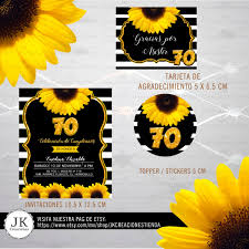 Invitacion Cumpleanos 70 Girasol 70 Aniversario Girasol