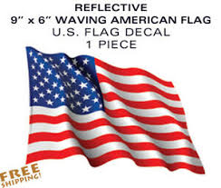 Reflective U S Flag Waving Large 1pc Decal 9 Patriotic Usa Us Vinyl Die Cut Ebay