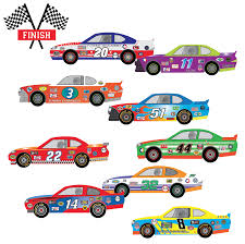 9 Race Car Wall Decals Checkered Flags Matte Removable Racing Decals