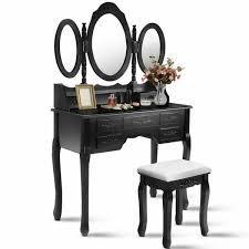 vanity set tri folding oval mirror