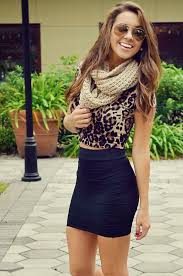 Leopard Blouse, Black Mini Skirt With Scarf Cute Outfit   Fashion ...