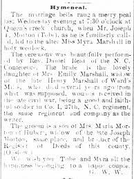 "Thomas ""Tobe"" and Myra Marshall Morton Marriage Announcement -  Newspapers.com"