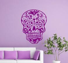 Sugar Skull Wall Decal Bedroom Living Room Wall Decal Vinyl Art Day Of The Dead Wall Decal Art Vinyl Decal Sticker M 41 Wall Decals Bedroom Decal Stickerskull Wall Decals Aliexpress