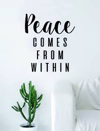 Peace Comes From Within Quote Decal Sticker Wall Vinyl Art Decor Home Buddha Inspirational Yoga Zen Meditate Lotus Flower Daily Meditation Meditation Custom Word Art