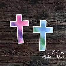 Cross Decal Cross Vinyl Sticker Watercolor Cross Decal Etsy