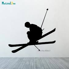 Wall Or Car Decal Vinyl Sticker Man Skiing Down Slopes Ski Snow Sport Game Nursery Kids Room Home Decor Living Wall Sticke Cl367 Wall Stickers Aliexpress