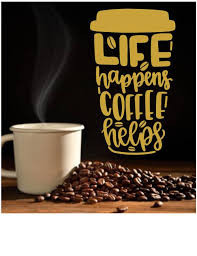 Life Happens Coffee Helps Wall Decal Coffee Decor Whimsidecals